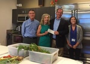 From the left: Doug Hart, Board Member of the CHS, Cynthia Muhlhauser, Vice Chair of the Cincinnati Horticultural Society Board, John Banchy, President & CEO,  The Children's Home of Cincinnati.  and Emily Fiegelist,  a public health dietetic intern.